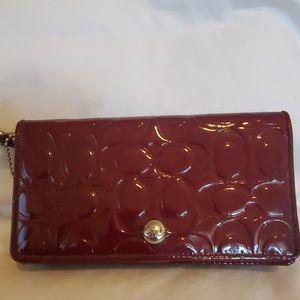 Coach red/burgundy wristlet/wallet